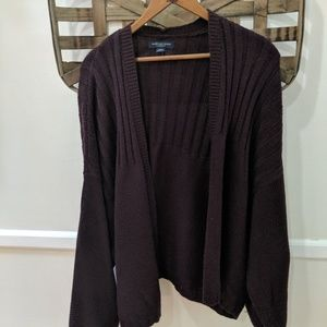 American Eagle burgundy open front cardigan